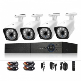COTIER 4CH 1080N Surveillance DVR System and 4Pcs 720P 1.0MP HD Weatherproof CCTV Cameras for Home Security - EU Plug
