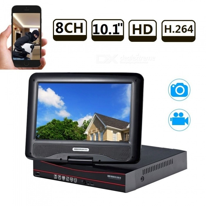 Strongshine 8CH H.264 Surveillance HDMI CCTV All-in-one AHD DVR Recorder with 10.1 Inch LCD Screen - EU PlugDVR Cards &amp; Systems<br>Form  ColorBlackPower AdapterEU PlugModelST-AHD6810HMMaterialMetal + plasticQuantity1 DX.PCM.Model.AttributeModel.UnitVideo Compressed FormatH.264Video InputOthers,8CHVideo OutputOthers,8CHVideo SystemPAL,NTSCVideo StandardsH.264Audio Compression FormatAACAudio Input4 channelsAudio Output1CHMax Capacity4TBInterface TypeSATAOperating SystemWindows 7,Android 3.0,Android 3.1,Android 3.2,Android 4.0,Linux,Windows 8,iOSSupported LanguagesEnglish,Simplified Chinese,Brazilian,Russian,Spanish,Italian,Korean,French,German,Bulgarian,Swedish,Romanian,Others,Support 28 Multi-Languages in UI.Picture Resolution8ch AHD 720P /1080N recording  * 4ch 720P AHD real time playback.Working Temperature-20~50 DX.PCM.Model.AttributeModel.UnitWorking Humidity10%~90%USB Port Qty3 DX.PCM.Model.AttributeModel.UnitPower AdaptorYesPower SupplyOthers,DC12VColorEU PlugPacking List1 x 8CH  AHD DVR built-in 10.1inch LCD screen1 x Power supply for AHD DVR1 x Mouse for AHD DVR 1 x User manual of AHD DVR1 x Screw and other parts<br>