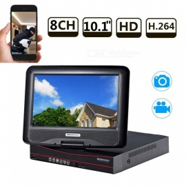 Strongshine 8CH H.264 Surveillance HDMI CCTV All-in-one AHD DVR Recorder with 10.1 Inch LCD Screen - EU Plug