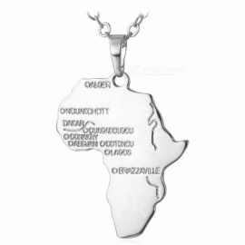 U7 Hiphop African Map Style Necklace Gold Color Pendant Chain Ethiopian Jewelry Trendy Gift for Men and Women Platinum Plated