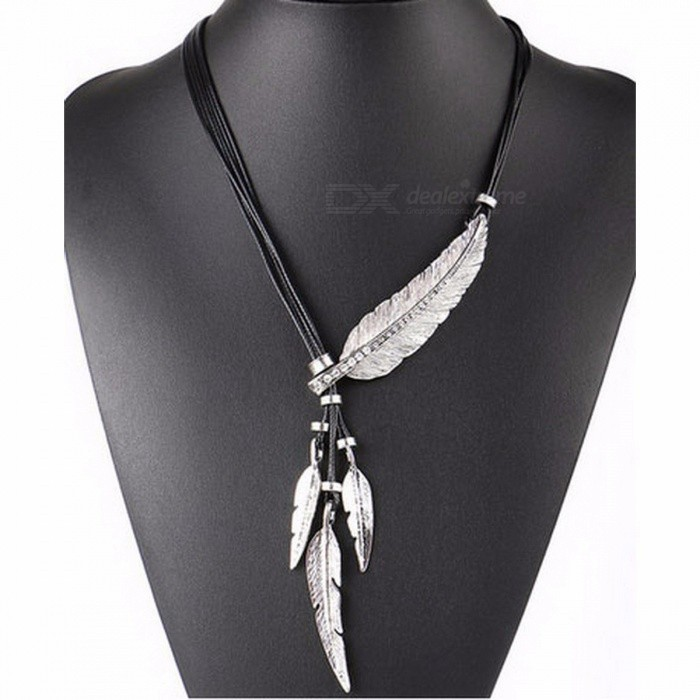 Fashionable Alloy Feather Style Pendant Necklace Vintage Retro Cool Creative Necklace for Women Ladies Silver + Black