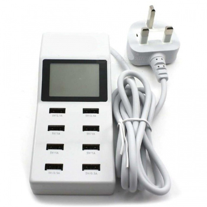 P-TOP 8-Port USB Travel Charger, Smart Charging Station w/ LCD Digital Display  - UK PlugPlugs &amp; Sockets<br>Form  ColorWhite - UK PlugForm  ColorUK PlugQuantity1 DX.PCM.Model.AttributeModel.UnitMaterialABSFireproof MaterialYesRate Voltage5VRated Current2100 DX.PCM.Model.AttributeModel.UnitRated Power- DX.PCM.Model.AttributeModel.UnitCompatible PlugOthers,-GroundingYesOutlet8 DX.PCM.Model.AttributeModel.UnitWith Switch ControlNoSurge Protection FunctionYesLightning Protection FunctionYesWith FuseYesCable Length1.5 DX.PCM.Model.AttributeModel.UnitPower AdapterUK PlugPacking List1 x 8 Ports USB Wall Charger<br>