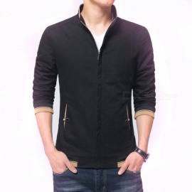 8915 Men's Slim Casual Fashion Collar Zipper Jacket - Black (M)