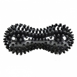 Novetly Peanut Shaped Spiky Massage Ball PVC Trigger Therapy Stress Relief Massager Fitness Tool - Black