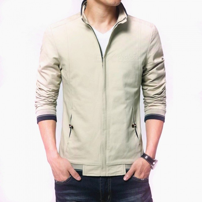 8915 Mens Slim Casual Fashion Collar Zipper Jacket - Beige (2XL)Jackets and Coats<br>Form  ColorBeigeSizeXXLForm  ColorBeigeSize2XLQuantity1 pieceShade Of ColorWhiteMaterialCotton and polyesterStyleFashionTop FlyZipperShoulder Width47 cmChest Girth112 cmWaist Girth112 cmSleeve Length66 cmTotal Length70 cmSuitable for Height180 cmPacking List1 x Coat<br>