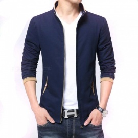 8915 Men's Slim Casual Fashion Collar Zipper Jacket - Blue (L)