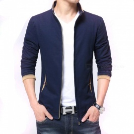 8915 Men's Slim Casual Fashion Collar Zipper Jacket - Blue (XL)
