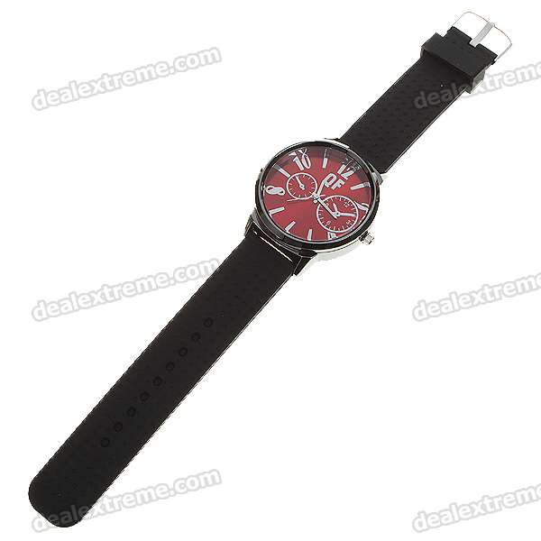 Fashion Silicone Watchband + Metal Dial Wrist Watch - Red Dial (1*377)