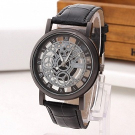 Fashion Business Skeleton Hollow Out Cool Watch Vintage Retro PU Leather Band Engraving Quartz Wrist Watch for Men Black