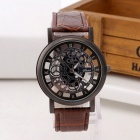 Fashion Business Skeleton Hollow Out Cool Watch Vintage Retro PU Leather Band Engraving Quartz Wrist Watch for Men Brown