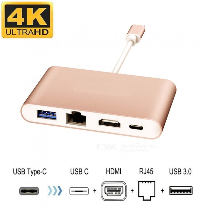Cwxuan 4-in-1 USB 3.1 Type-C to 4K HDMI &amp; USB 3.0 &amp; RJ45 Ethnernet &amp; Type-C PD Charger Port Adapter - GoldenLaptop/Tablet Cable&amp;Adapters<br>Form  ColorGoldenForm  ColorGoldenQuantity1 DX.PCM.Model.AttributeModel.UnitShade Of ColorGoldMaterialAluminum alloy + ABSInterfaceOthers,USB,HDMI,RJ45,Others(USB 3.1 Type-C)Packing List1 x Adapter<br>