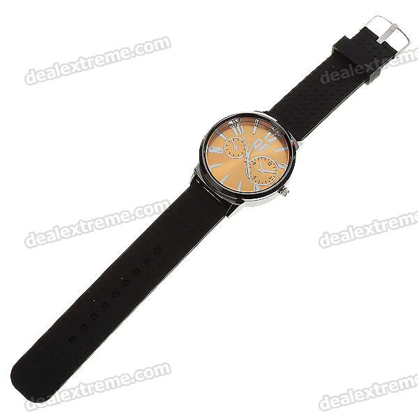 Fashion Silicone Watchband + Metal Dial Wrist Watch - Gold Dial (1*377)