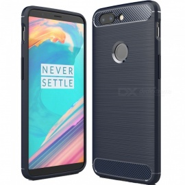 ASLING Protective Carbon Fiber TPU Soft Cover Case for OnePlus 5T - Dark Blue