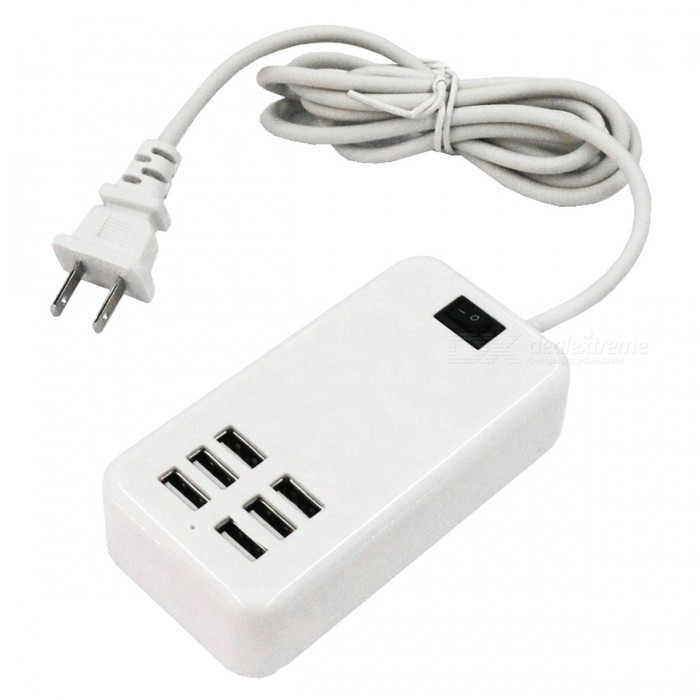 Portable 30W 6-Port USB Smart Charging Power Strip - US Plug (AC100-240V)Plugs &amp; Sockets<br>Form  ColorUS PlugForm  ColorWhite (US Plug)Model6USBQuantity1 setMaterialABSFireproof MaterialNoRate VoltageAC100-240VRated Current6 ARated Power30 WCompatible PlugOthers,USBGroundingYesOutlet6 setWith Switch ControlYesSurge Protection FunctionYesLightning Protection FunctionYesWith FuseYesCable Length150 cmPower AdapterUS PlugPacking List1 x Charging power strip<br>