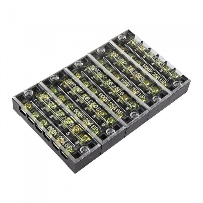 YENISEI TB2508 8-Position Dual Rows 600V 25A Wire Barrier Block Terminal Strip (5 PCS)DIY Parts &amp; Components<br>Form  ColorBlack + Translucent + Multi-ColoredQuantity5 DX.PCM.Model.AttributeModel.UnitMaterialMetal + PVCEnglish Manual / SpecNoOther FeaturesMaximum Rated Voltage: 600V;<br>Maximum Rated Current: 25A;<br>Poles: 8 Positions (Dual Row);CertificationROHSPacking List5 x Barrier Terminal Blocks<br>