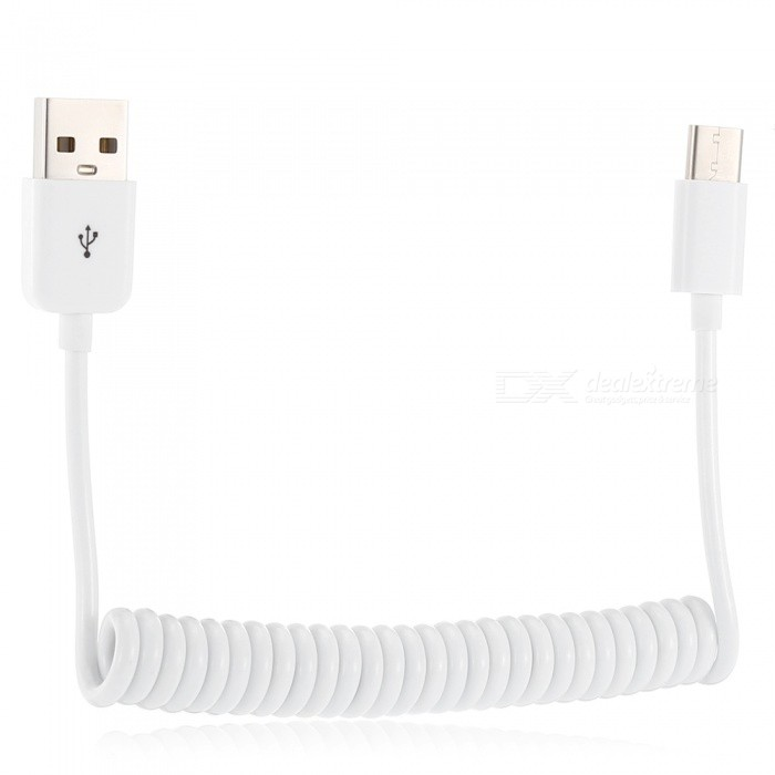 USB 2.0 to Type-C Spring Type Charging Data Cable - White (100cm)Cables<br>Form  ColorWhiteLength100cmForm  ColorWhiteLength100cmModelN / AMaterialPVC + Copper CoreQuantity1 DX.PCM.Model.AttributeModel.UnitCompatible ModelsType-C interface s phoneConnectorUSB2.0 / Type-CTransmission Rate2.0Other FeaturesThe stretch can reach one meter.Packing List1 x Cable<br>