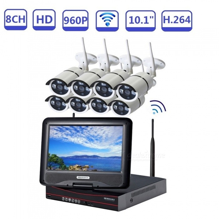 STRONGSHINE All-in-one 10.1inch LCD Wireless NVR Kits 8ch 960P HD WIFI Outdoor Bullet IP Camera - EU PlugNVR Cards &amp; Systems<br>Form  ColorBlack + WhitePower AdapterEU PlugModelST-NVR9810NMWKITS-1.3MPMaterialMetal + plasticQuantity1 setSystem ResourcesMulti-channel real-time recording synchronously,Multi-channel real-time playback,USB back upOperating SystemWindows 7,Android 3.0,Android 3.1,Android 3.2,Android 4.0,Linux,Windows 8,iOSRemote MonitoringNoPower AdaptorYesPower SupplyOthers,DC12VMobile Phone PlatformAndroid,iOSWorking Temperature-20~50 ?Working Humidity10%~90%Video StandardsH.264Decode FormatH.264Multi-mode Video InputwirelessMotion DetectionYesAudio Compression FormatAACAudio InputOthers,8CHAudio  Output1 ChannelVideo InputOthers,8CHVideo OutputOthers,8CHMonitor Quality8ch 1080/8ch 960P/8ch 720P  Real Time Recording.Playback Quality2ch 720P or 960P realtime playback.Encode CapabilityH.264Decode CapabilityH.264Record ModeManual,Motion DetectionVideo SearchTime,Date,Channel SearchStorageNoVideo StorageLocal HDD,NetworkBack up ModeNetwork backup,USB portable,HDDUSBUSB 2.0HDD PortSATAColorEU PlugPacking List1. 1*8CH  WIFI NVR built-in 10.1 inch LCD screen2. 1* Power supply for NVR3. 1* Mouse for NVR 4. 8* 960P WIFI IP Camera5. 8* Power supply for WIFI IPC6. 1* User manual of NVR7. Screw and other parts<br>