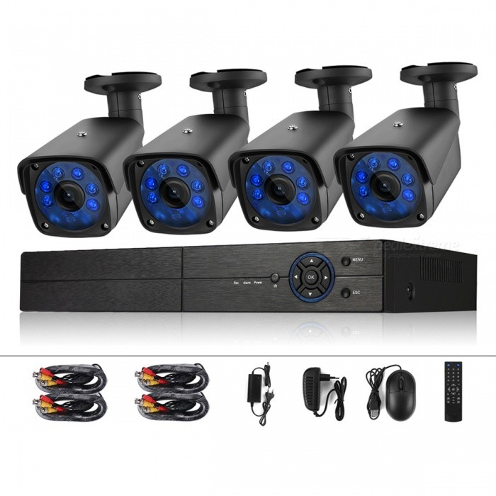COTIER Security Camera 4CH 1080N Surveillance DVR System 720P 1.0MP HD Weatherproof CCTV Cameras - US PlugDVR Cards &amp; Systems<br>Form  ColorBlackPower AdapterUS PlugModelA4B3/Kit 720PMaterialAluminum alloyQuantity1 setVideo Compressed FormatH.264+Video Input4 channelsVideo OutputOthers,1?VGA 1?HD-OUTVideo SystemNTSCAudio Compression FormatOthers,G.711AAudio Input4 channelsAudio Output1CHMax Capacity6TBInterface TypeSATAOperating SystemWindows 7,Android 3.0,Android 3.1,Android 3.2,Android 4.0,Android 3.2.1,Android 3.2.2,Android 3.2.3,Android 3.2.4,Android 3.2.5,Android 3.2.6,Android 4.0.1,Android 4.0.2,Android 4.0.3,Android 4.0.4,Android 4.1.1,Android 4.1.2,Android 4.2.1,Android 4.2.2,Android 4.3.1,Android 4.4,Android 4.4.1,Android 4.4.2,Android 4.1,Android 4.2,Android 4.3,Windows 8,Windows 8.1,iOSSupported LanguagesEnglish,Simplified Chinese,Traditional Chinese,Brazilian,Russian,Portuguese,Spanish,Italian,Korean,French,Czech,Hebrew,German,Finnish,Bulgarian,Swedish,Romanian,GreekPTZ ControlCoaxial controlPicture Resolution1080NWorking Temperature0 ~+55 ?Working Humidity10%~90%Alarm InputRs485Alarm OutputRs485Network InterfaceRJ45USB Port Qty2 piecePower AdaptorYesRate Voltage12VRated Current2 APower28 WPower SupplyOthers,AC110V-240VCertificationCE ROSHColorUS PlugPacking List1 * 4CH DVR2 * CCTV Camera2 * Set of Camera Mounting Screws1 * Bag of Screws for HDD Installation2 * 60ft CCTV Video Cable1 * Four Split Power Cable1 * USB Mouse2 *  Power Adapter1 * User Manual (With 6 languages: English, German, French, Japanese, Italian, Russian )<br>