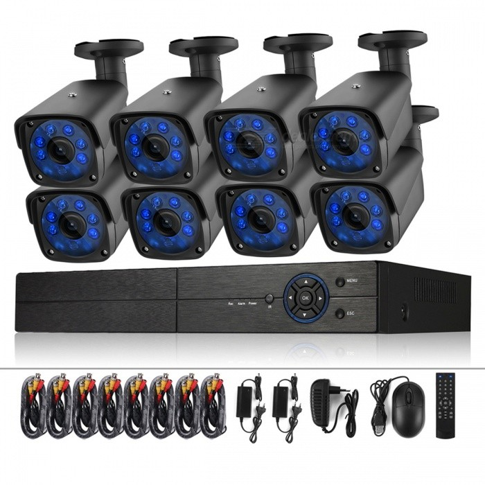 COTIER CCTV System H.264 8CH HD 1080N DVR Recorder 8 x 1500TVL 720P Waterproof Bullet Camera - EU PlugDVR Cards &amp; Systems<br>Form  ColorblackPower AdapterEU PlugModelA8B3/Kit 720PMaterialAluminum alloyQuantity1 DX.PCM.Model.AttributeModel.UnitVideo Compressed FormatH.264+Video Input4 channelsVideo OutputOthers,1?VGA 1?HD OUTVideo SystemPALAudio Compression FormatOthers,G.711AAudio Input4 channelsAudio Output1CHMax Capacity6TBInterface TypeSATAOperating SystemWindows 7,Android 3.1,Android 3.2,Android 4.0,Linux,Android 3.2.1,Android 3.2.2,Android 3.2.3,Android 3.2.4,Android 3.2.5,Android 3.2.6,Android 4.0.1,Android 4.0.2,Android 4.0.3,Android 4.0.4,Android 4.1.1,Android 4.1.2,Android 4.2.1,Android 4.2.2,Android 4.3.1,Android 4.4,Android 4.4.1,Android 4.4.2,Android 4.1,Android 4.2,Android 4.3,Windows 8,Windows 8.1,iOSSupported LanguagesEnglish,Simplified Chinese,Traditional Chinese,Brazilian,Russian,Portuguese,Spanish,Italian,Korean,French,Czech,Hebrew,German,Finnish,Bulgarian,Swedish,Romanian,GreekPTZ ControlCoaxial controlPicture Resolution1080NWorking Temperature0~55 DX.PCM.Model.AttributeModel.UnitWorking Humidity10%~90%Alarm InputRS485Alarm OutputRS485Network InterfaceRJ45USB Port Qty2 DX.PCM.Model.AttributeModel.UnitPower AdaptorYesRate Voltage12VRated Current2 DX.PCM.Model.AttributeModel.UnitPower50 DX.PCM.Model.AttributeModel.UnitPower SupplyOthers,AC110V-240VCertificationCE ROSHColorBlack (EU Plug)Packing List1 * DVR8 * CCTV Camera8 * Set of Camera Mounting Screws1 * Bag of Screws for HDD Installation8 * 60ft CCTV Video Cable2 * Four Split Power Cable1 * USB Mouse3 * Power Adapter1 * User Manual (With 6 languages: English, German, French, Japanese, Italian, Russian )<br>