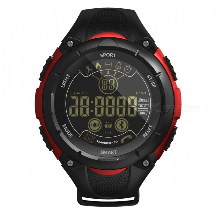 X7 Sports Bluetooth Intelligent Watch Camera Remote Control Calls Message Reminder for Men and Women - RedSmart Bracelets<br>ColorRedModelX7Quantity1 piecesMaterialPlastic cementWater-proofIP68Bluetooth VersionBluetooth V4.0Touch Screen TypeOthers,FSTNOperating SystemAndroid 4.4,iOSCompatible OSAndroid IOSBattery Capacity600 mAhBattery TypeOthers,CR2450 button batteryStandby Time20 monthPacking List1 x Smart Watch1 x User Manual<br>