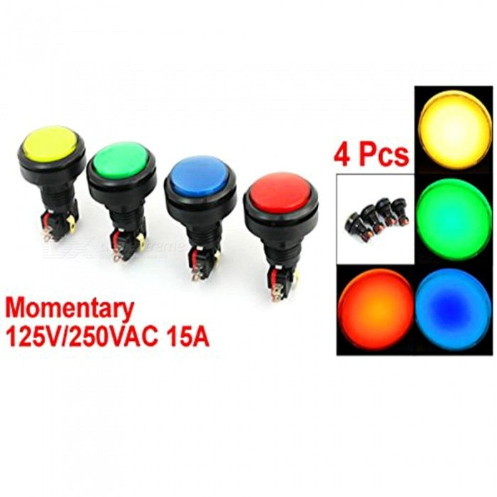 RXDZ Panel Mount Round Head SPDT 5Pin Momentary Game Push Buttonswitch (4 PCS)Switches &amp; Adapters<br>ColorMix ColorQuantity4 piecesMaterialPlastic electronic partsPower Range12V DCMax. Current125V/250VAC 15AWorking Temperature10 ?CertificationNOPacking List4 x Arcade Push Button Switch<br>