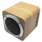 B06 mini wooden bluetooth v4.0 speaker w/ fm, tf card slot - yellow