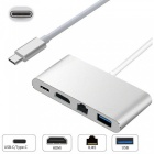 4-in-1 USB 3.1 Type-C USB-C to HDMI 4K + Gigabit Ethernet (RJ45 Port) + USB 3.0 Adapter