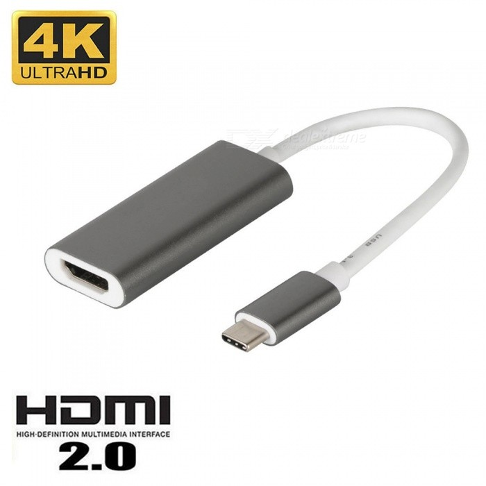Cwxuan USB 3.1 Type-C (Thunderbolt 3) to HDMI 4K UHD Adapter Connection Cable - GrayAV Adapters And Converters<br>Form  ColorGrayMaterialTitanium alloy + PVCQuantity1 setConnectorHDMI,Others,USB-C 3.1 Type CPacking List1 x USB 3.1 Type-C Male to 4k HDMI Female Adapter Cable<br>