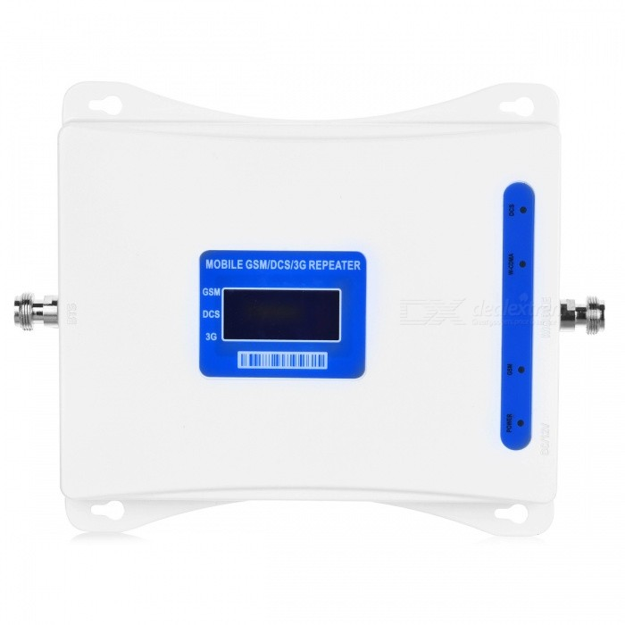 3G 4G 900/1800/2100MHz GSM DCS WCDMA Signal Booster Kit for Cellphone - White (US Plug)Signal Booster<br>ColorwhitePlug TypeUS PlugQuantity1 DX.PCM.Model.AttributeModel.UnitMaterialAluminum alloyNetwork Type2G,3G,4G,Others,GSM 900Hz / DCS 1800MHz / WCDMA 2100MHz)Network DetailsGSM,WCDMA,Others,GSM 900Hz / DCS 1800MHz / WCDMA 2100MHzFrequency RangeUp link:890~915MHz /1710~1785MHz /1920~1990MHz.  Down link: 935~960MHz /1805~1880 MHz / 2110~2180MHzShade Of ColorWhiteApplicationIndoor,Outdoor,Others,Office, factory, meeting room, market, publicFrequency Range Uplink890~915MHz /1710~1785MHz /1920~1990MHzFrequency Range Down Link935~960MHz /1805~1880 MHz / 2110~2180MHzMax. Coverage Square Meters500~3000 square meterGain (dBi)65Output Power1 DX.PCM.Model.AttributeModel.UnitNoise Figure (Db)Electromagnetic CompatibilityETS300609-4I/O Impedance50Power AdapterUS PlugOther FeaturesSupport GSM / DCS / WCDMA900~1800~2100MHz; Output power: 30dBmPacking List1 x Signal booster1 x Outdoor antenna 1 x Indoor antenna1 x Power adapter 1 x English user manual<br>