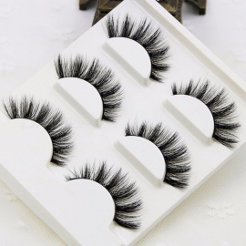 3Pcs/Lot 100% Handmade Real Mink Fur False Eyelash, 3D Strip Mink Lashes Makeup Beauty Thick Fake Faux Eyelashes  1 box 3 pairs