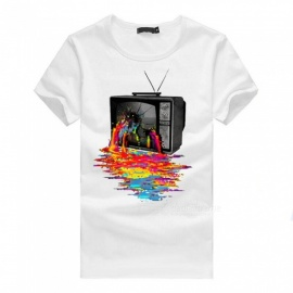 3D Color TV Print Personality Fashion Casual Cotton Short-Sleeved T-shirt for Men - White (XL)