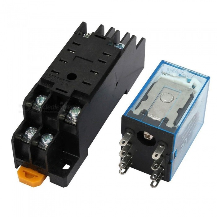 IEC255 DC 12V Coil 8Pin DPDT Electromagnetic Power Relay with Socket ...
