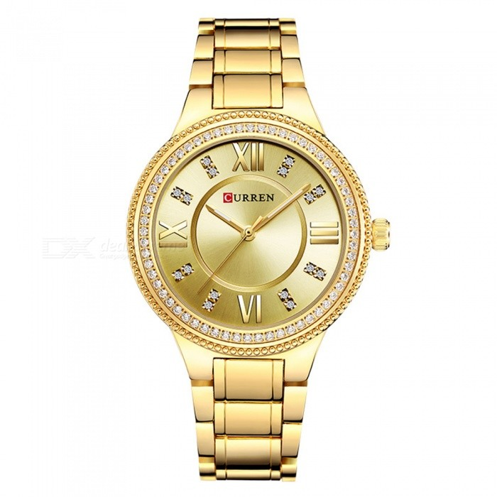 CURREN 9004 Womens Stylish Quartz Watch - GoldenQuartz Watches<br>ColorAll goldenModel9004Quantity1 DX.PCM.Model.AttributeModel.UnitShade Of ColorGoldCasing MaterialAlloyWristband Material-Suitable forAdultsGenderWomenStyleWrist WatchTypeFashion watchesDisplayAnalogBacklightNOMovementQuartzDisplay Format12 hour formatWater ResistantFor daily wear. Suitable for everyday use. Wearable while water is being splashed but not under any pressure.Dial Diameter4 DX.PCM.Model.AttributeModel.UnitDial Thickness1 DX.PCM.Model.AttributeModel.UnitWristband Length22 DX.PCM.Model.AttributeModel.UnitBand Width1.5 DX.PCM.Model.AttributeModel.UnitBattery626Packing List1 x Watch<br>