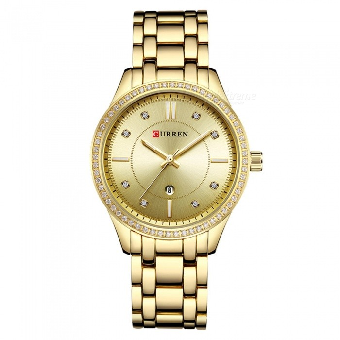 CURREN 9010 Stylish Quartz Watch for Women - GoldenQuartz Watches<br>ColorGoldenModel9010Quantity1 DX.PCM.Model.AttributeModel.UnitShade Of ColorGoldCasing MaterialAlloyWristband Material-Suitable forAdultsGenderWomenStyleWrist WatchTypeFashion watchesDisplayDigitalBacklightnoMovementQuartzDisplay Format12 hour formatWater ResistantFor daily wear. Suitable for everyday use. Wearable while water is being splashed but not under any pressure.Dial Diameter4 DX.PCM.Model.AttributeModel.UnitDial Thickness1 DX.PCM.Model.AttributeModel.UnitWristband Length22 DX.PCM.Model.AttributeModel.UnitBand Width1.5 DX.PCM.Model.AttributeModel.UnitBattery626Packing List1 x Watch<br>