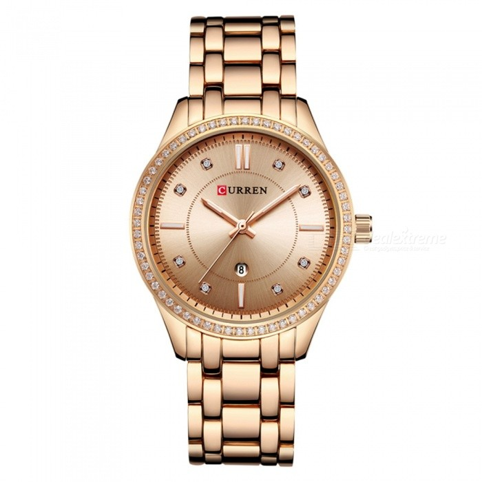 CURREN 9010 Stylish Quartz Watch for Women - Rose GoldQuartz Watches<br>ColorRose GoldModel9010Quantity1 pieceShade Of ColorMulti-colorCasing MaterialAlloyWristband Material-Suitable forAdultsGenderWomenStyleWrist WatchTypeFashion watchesDisplayDigitalBacklightnoMovementQuartzDisplay Format12 hour formatWater ResistantFor daily wear. Suitable for everyday use. Wearable while water is being splashed but not under any pressure.Dial Diameter4 cmDial Thickness1 cmWristband Length22 cmBand Width1.5 cmBattery626Packing List1 x Watch<br>