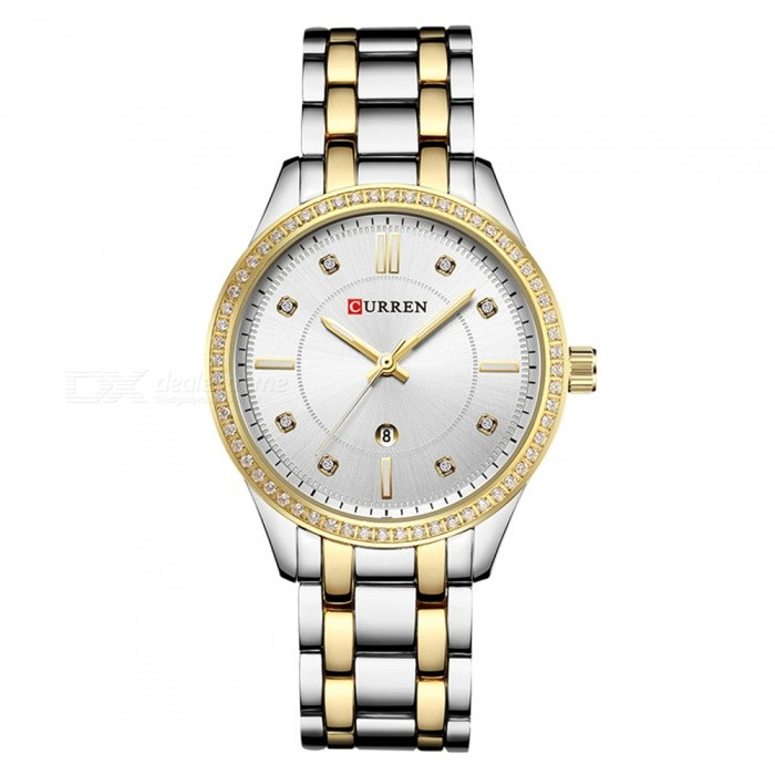 CURREN 9010 Stylish Quartz Watch for Women - Silver + GoldenQuartz Watches<br>ColorSilver + GoldenModel9010Quantity1 DX.PCM.Model.AttributeModel.UnitShade Of ColorMulti-colorCasing MaterialAlloyWristband Material-Suitable forAdultsGenderWomenStyleWrist WatchTypeFashion watchesDisplayDigitalBacklightnoMovementQuartzDisplay Format12 hour formatWater ResistantFor daily wear. Suitable for everyday use. Wearable while water is being splashed but not under any pressure.Dial Diameter4 DX.PCM.Model.AttributeModel.UnitDial Thickness1 DX.PCM.Model.AttributeModel.UnitWristband Length22 DX.PCM.Model.AttributeModel.UnitBand Width1.5 DX.PCM.Model.AttributeModel.UnitBattery626Packing List1 x Watch<br>