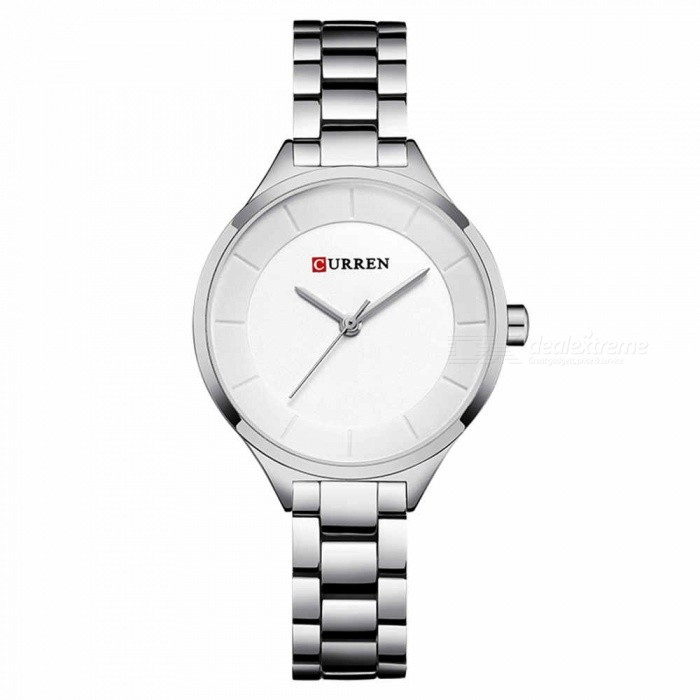 CURREN 9015 Stylish Quartz Watch for Women - Silver + WhiteQuartz Watches<br>ColorSilver + WhiteModel9015Quantity1 DX.PCM.Model.AttributeModel.UnitShade Of ColorWhiteCasing MaterialAlloyWristband Material-Suitable forAdultsGenderWomenStyleWrist WatchTypeFashion watchesDisplayAnalogBacklightnoMovementQuartzDisplay Format12 hour formatWater ResistantFor daily wear. Suitable for everyday use. Wearable while water is being splashed but not under any pressure.Dial Diameter3.5 DX.PCM.Model.AttributeModel.UnitDial Thickness1 DX.PCM.Model.AttributeModel.UnitWristband Length22 DX.PCM.Model.AttributeModel.UnitBand Width1.2 DX.PCM.Model.AttributeModel.UnitBattery626Packing List1 x Watch<br>