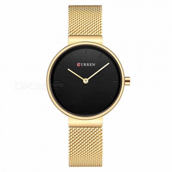 CURREN 9016 Stylish Quartz Watch for Women - Golden + BlackQuartz Watches<br>ColorGolden + BlackModel9016Quantity1 DX.PCM.Model.AttributeModel.UnitShade Of ColorGoldCasing MaterialAlloyWristband Material-Suitable forAdultsGenderWomenStyleWrist WatchTypeFashion watchesDisplayAnalogBacklightnoMovementQuartzDisplay Format12 hour formatWater ResistantFor daily wear. Suitable for everyday use. Wearable while water is being splashed but not under any pressure.Dial Diameter3 DX.PCM.Model.AttributeModel.UnitDial Thickness1 DX.PCM.Model.AttributeModel.UnitWristband Length23 DX.PCM.Model.AttributeModel.UnitBand Width1.5 DX.PCM.Model.AttributeModel.UnitBattery626Packing List1 x Watch<br>