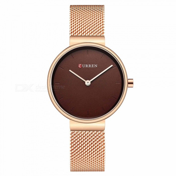 CURREN 9016 Stylish Quartz Watch for Women - Rose Gold + BrownQuartz Watches<br>ColorRose Gold + BrownModel9016Quantity1 pieceShade Of ColorBrownCasing MaterialAlloyWristband Material-Suitable forAdultsGenderWomenStyleWrist WatchTypeFashion watchesDisplayAnalogBacklightnoMovementQuartzDisplay Format12 hour formatWater ResistantFor daily wear. Suitable for everyday use. Wearable while water is being splashed but not under any pressure.Dial Diameter3 cmDial Thickness1 cmWristband Length23 cmBand Width1.5 cmBattery626Packing List1 x Watch<br>