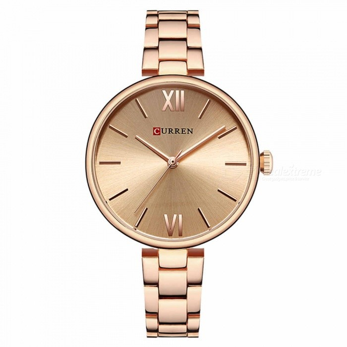 CURREN 9017 Stylish Quartz Watch for Women - Rose GoldQuartz Watches<br>ColorRose GoldModel9017Quantity1 DX.PCM.Model.AttributeModel.UnitShade Of ColorMulti-colorCasing MaterialAlloyWristband Material-Suitable forAdultsGenderWomenStyleWrist WatchTypeFashion watchesDisplayAnalogBacklightnoMovementQuartzDisplay Format12 hour formatWater ResistantFor daily wear. Suitable for everyday use. Wearable while water is being splashed but not under any pressure.Dial Diameter3.5 DX.PCM.Model.AttributeModel.UnitDial Thickness1 DX.PCM.Model.AttributeModel.UnitWristband Length22 DX.PCM.Model.AttributeModel.UnitBand Width1.2 DX.PCM.Model.AttributeModel.UnitBattery626Packing List1 x Watch<br>