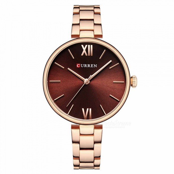 CURREN 9017 Stylish Quartz Watch for Women - Rose Gold + BrownQuartz Watches<br>ColorRose Gold + BrownModel9017Quantity1 pieceShade Of ColorBrownCasing MaterialAlloyWristband Material-Suitable forAdultsGenderWomenStyleWrist WatchTypeFashion watchesDisplayAnalogBacklightnoMovementQuartzDisplay Format12 hour formatWater ResistantFor daily wear. Suitable for everyday use. Wearable while water is being splashed but not under any pressure.Dial Diameter3.5 cmDial Thickness1 cmWristband Length22 cmBand Width1.2 cmBattery626Packing List1 x Watch<br>