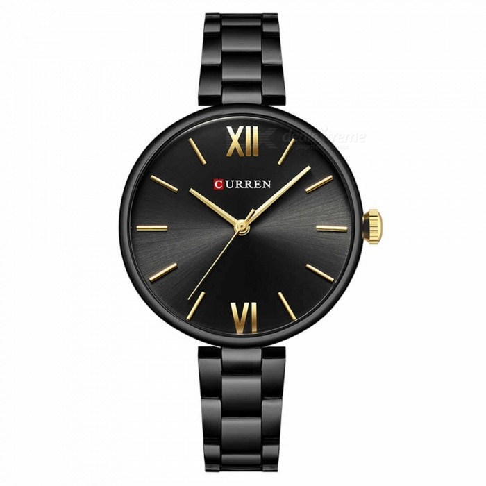CURREN 9017 Stylish Quartz Watch for Women - BlackQuartz Watches<br>ColorBlackModel9017Quantity1 DX.PCM.Model.AttributeModel.UnitShade Of ColorBlackCasing MaterialAlloyWristband Material-Suitable forAdultsGenderWomenStyleWrist WatchTypeFashion watchesDisplayAnalogBacklightnoMovementQuartzDisplay Format12 hour formatWater ResistantFor daily wear. Suitable for everyday use. Wearable while water is being splashed but not under any pressure.Dial Diameter3.5 DX.PCM.Model.AttributeModel.UnitDial Thickness1 DX.PCM.Model.AttributeModel.UnitWristband Length22 DX.PCM.Model.AttributeModel.UnitBand Width1.2 DX.PCM.Model.AttributeModel.UnitBattery626Packing List1 x Watch<br>