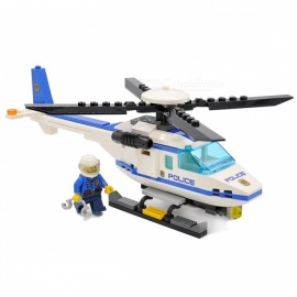 GUDI City Police Helicopter Blocks, 111Pcs Bricks Building Block Set Educational Toy for Children, Kids White+Blue