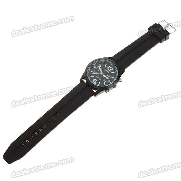 Stylish Soft Plastic Wristband + Metal Dial Wrist Watch - Black (1*6261)