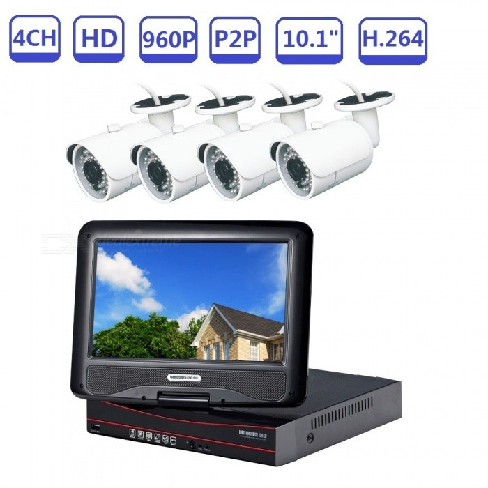"""Strongshine AHD DVR 4CH 1.3MP Outdoor Camera CCTV Kit w/ 4 Channel 960P 10.1"""" LCD Screen Network Standalone DVR System - US Plug"""