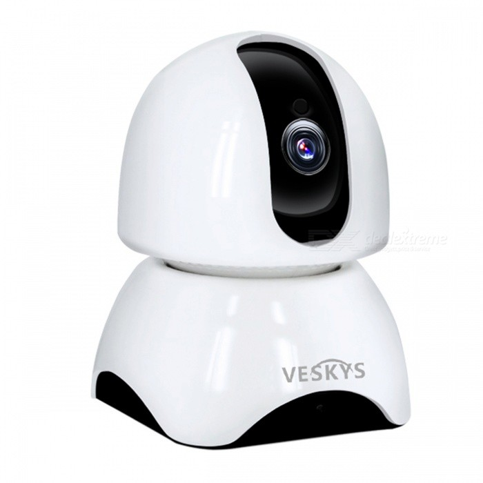 VESKYS HD 1080P 2.0MP Wireless Security IP Camera Night Vision Two-way Voice Intercom - EU PlugIP Cameras<br>Plug TypeEU PlugModelN/AMaterialABSQuantity1 DX.PCM.Model.AttributeModel.UnitImage SensorCMOSLens3.6mmPixels2.0MPViewing AngleOthers,75 DX.PCM.Model.AttributeModel.UnitVideo Compressed FormatH.264Picture Resolution1920 x 1080pFrame Rate25FPSInput/OutputBuilt-in microphone / Audio line-outMinimum Illumination0.1 DX.PCM.Model.AttributeModel.UnitNight VisionYesIR-LED Quantity2Night Vision Distance10 DX.PCM.Model.AttributeModel.UnitWireless / WiFi802.11 b / g / nNetwork ProtocolTCP,IP,HTTP,SMTP,DHCP,NTP,DDNS,uPnPSupported SystemsOthers,NOSupported BrowserOthers,NOSIM Card SlotNoOnline Visitor4IP ModeDynamicMobile Phone PlatformAndroid,iOSSmart AlarmMotion DetectionFree DDNSYesIR-CUTYesBuilt-in Memory / RAMNoLocal MemoryYesMemory CardTFMax. Memory Supported128GBMotorYesRotation AngleHorizontal:340 degree Vertical: 70 degreeSupported LanguagesEnglish,Simplified ChineseWater-proofNoIntercom FunctionYesPacking List1 x IP Camera 1 x USB Cable 1 x EU Plug power adapter (110~240V)1 x Camera Fixed chassis1 x Pack of installation accessories1 x English user manual<br>
