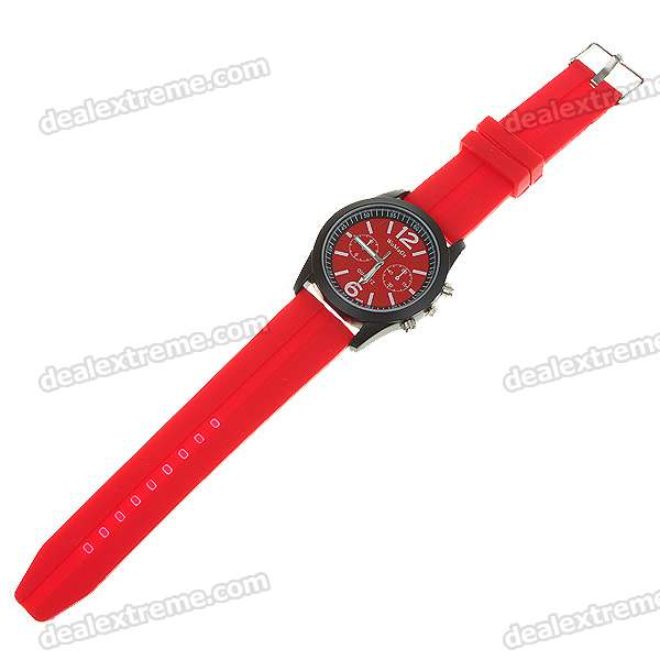 Stylish Soft Plastic Wristband + Metal Dial Wrist Watch - Red + Black (1*6261)