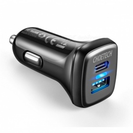 CHOETECH 33W Quick Charge QC 3.0 Car Charger Universal USB 3.0 Type-C Ports Car Charger Adapter for IPHONE 7 Samsung S8 Black