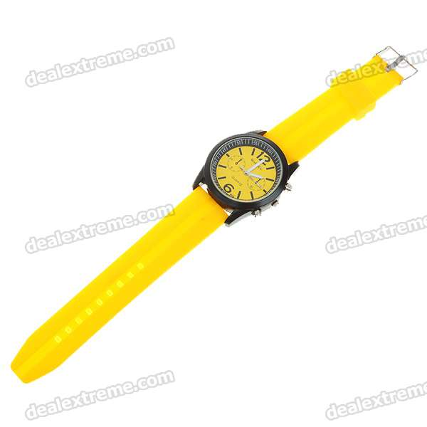 Stylish Soft Plastic Wristband + Metal Dial Wrist Watch - Yellow + Black (1*6261)