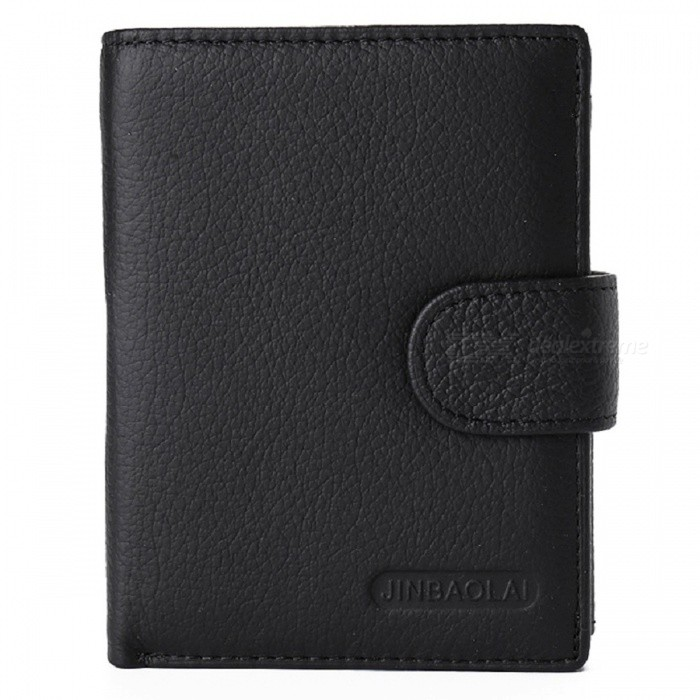 JIN BAO LAI Mens Stylish Folding Leather Card Holder Wallet - BlackWallets and Purses<br>ColorBlackModel8044#Quantity1 DX.PCM.Model.AttributeModel.UnitShade Of ColorBlackMaterialLeatherGenderMenSuitable forAdultsOpeningHaspStyleFashionWallet Dimensions12*9*2.5cmPacking List1 x Wallet<br>